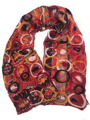 """Handmade Reds Silk and Wool Felted Scarf Nepal (11"""" x 67"""")"""