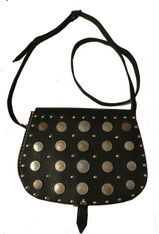 "Handmade Leather and Coin Shoulder Bag Morocco ( 11"" x 8"")"
