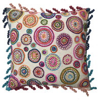 """Peru Woolen Hand Woven and Embroidered Pillow Rainbow (17"""" x 17"""")"""