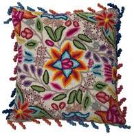 "Peru Woolen Hand Woven and Embroidered Pillow Flowers (17"" x 17"")"