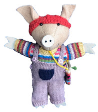 Handmade Wool Felt and Knitted Pig Nepal