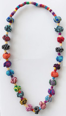 "Hand Knotted Button Bead Multicolor Necklace Morocco (13"" drop)"
