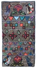 "Handmade Hooked Rug of Recycled Clothing Glendy Guatemala (24"" x 48"")"