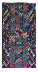 """Handmade Hooked Rug of Recycled Clothing Bartola Guatemala (24"""" x 48"""")"""
