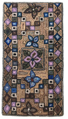 "Handmade Hooked Rug of Recycled Clothing Glendy Brown Guatemala (25"" x 47"")"