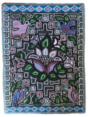 "Handmade Hooked Floral and Birds Rug of Recycled Clothing Shenny Guatemala 15 (24"" x 36"")"