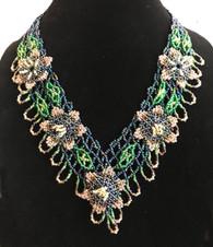 "Handmade Beaded Flower Necklace Guatemala (10"" drop)"
