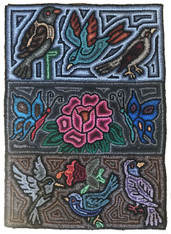 "Handmade Hooked Birds and Butterflies Rug of Recycled Clothing Juana Guatemala (23"" x 32"")"