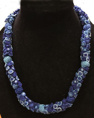 "Hand Knotted Button Blue Mix  Bead Necklace Morocco (10"" drop)"