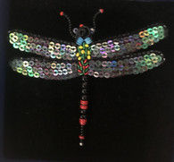 "Handmade Embroidered Beaded Night Fairy Dragonfly  Brooch (3"" x 2.5"")"