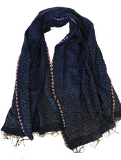 "Hand Dyed Cotton Indigo Bandhani Shawl India (34"" x 68"")"