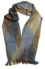 "Bamboo Hand Dyed Handwoven Scarf Grey Brown Blue Guatemala (8"" x 68"")"
