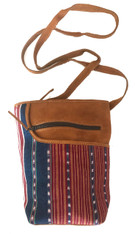 "HandwovenTraditional Cotton and Suede Cross Shoulder Purse Solola Guatemala (8""x 10"")"