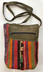 "HandwovenTraditional Wool and Suede Cross Shoulder Purse Morocco (8""x 10"")"