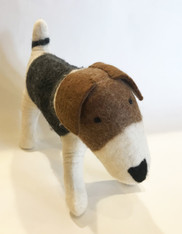 "Handmade Wool Felt Stuffed Animal Jack Russell Dog Large Nepal ( 12"" tall x 19"" long)"