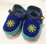 Handmade Crocheted Velvet and Beaded Baby Booties Blue India