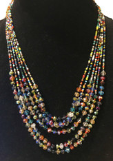 Handmade 6 Strand Beaded Necklace Guatemala