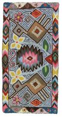 "Handmade Hooked Rug by Maria Sacalox Guatemala (25"" x 49"")"