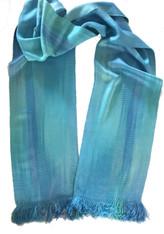 "Handwoven Bamboo Aqua Scarf Guatemala (6"" x 68"")"