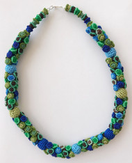 "Hand Knotted Button Bead Greens Blues Necklace Morocco (10"" drop)"
