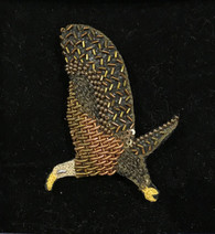 "Handmade Embroidered Bald Eagle  Brooch (1.75"" x 2.4"")"