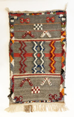 """Handwoven Glaoui Wool Flat Weave with Pile and Embroidery Grey Vintage Tribal Berber Rug Morocco (30"""" x 47"""")"""