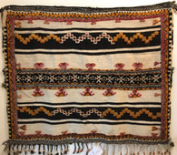"Handwoven Glaoui Wool Flat Weave with Pile and Embroidery Vintage Tribal Berber Rug Morocco (39"" x 50"")"