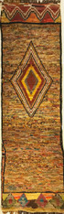 "Handwoven Wool Pile and Vintage Tribal Berber Runner Rug Morocco (35"" x 114"")"