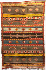 "Handwoven Glaoui Wool Flat Weave with Pile and Embroidery  Vintage Tribal Berber Rug Morocco (61"" x 95"")"