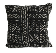 "Handwoven Dyed Mud Cloth Pillow Mali (18""x 18"")"