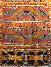 "Handwoven Glaoui Wool Flat Weave with Pile and Embroidery  Vintage Tribal Berber Rug Morocco (57"" x 86"")"