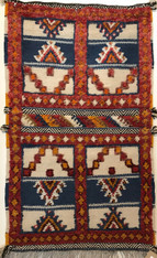 "Handwoven Glaoui Wool Flat Weave with Pile and Embroidery  Vintage Tribal Berber Rug Morocco (24"" x 41"")"