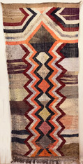 "Handwoven Flat Weave Mixed Fiber Rug Morocco ( 41"" x 94"")"