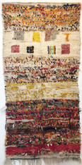 "Handwoven and Hand Knotted Azilal Vintage Tribal Berber Wool Rug Morocco (47"" x 95"")"