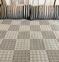 "Woven Cotton Coverlet Dove Grey South Africa (100"" x 100"")"