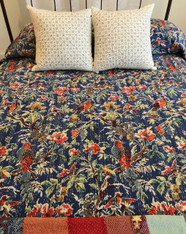 "Summertime Block Printed Queen Floral on Blue 2 Stitched Coverlet India (90"" x 108"")"