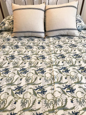 "Summertime Block Printed Queen Floral White Stitched Coverlet India (86"" x 105"")"
