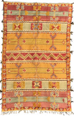 """Handwoven Glaoui  Wool Flat Weave with Pile and Embroidery  Vintage Tribal Berber Rug Morocco (52"""" x 82"""")"""