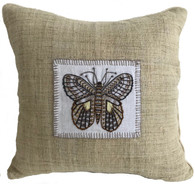 "Handwoven and Hand Embroidered Moth Pillow 2 on Hemp Guatemala and Laos (14"" x 14"")"