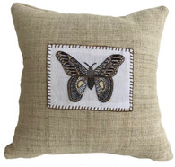"Handwoven and Hand Embroidered Moth Pillow 3 on Hemp Guatemala and Laos (14"" x 14"")"