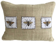"Handwoven and Hand Embroidered Bees Pillow 2 on Hemp Guatemala and Laos (12"" x 17"")"