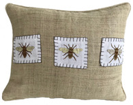 """Handwoven and Hand Embroidered Bees Pillow 3 on Hemp Guatemala and Laos (12"""" x 17"""")"""