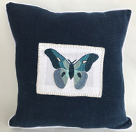 "Handwoven and Hand Embroidered Blue Moth Pillow 2  Guatemala  (14"" x 14"")"