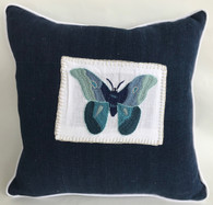 "Handwoven and Hand Embroidered Blue Moth Pillow 3  Guatemala  (14"" x 14"")"