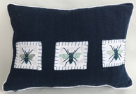 "Handwoven and Hand Embroidered Blue Bees Pillow 1  Guatemala  (12"" x 17"")"