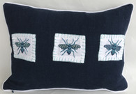 """Handwoven and Hand Embroidered Blue Bees Pillow 2  Guatemala  (12"""" x 17"""")"""