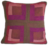 "Hand Quilted Reds 3 Patchwork Silk Pillow India (20"" x 20"")"