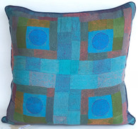"Hand Quilted Blues 2 Patchwork Silk Pillow India (22"" x 22"")"