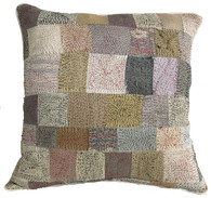 "Hand Quilted Neutrals Patchwork Silk Pillow India (16"" x 16"")"