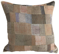 "Hand Quilted Neutrals 2 Patchwork Silk Pillow India (16"" x 16"")"